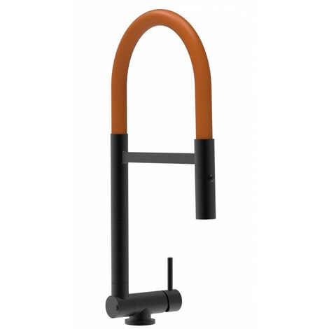 Mitigeur de cuisine rabattable sous fenetre 45mm chrome noir mat robinet bec orange orientable et douchette 2 jets detachable VIZIO