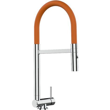 Mitigeur de cuisine rabattable sous fenetre 45mm chrome robinet bec orange orientable et douchette 2 jets detachable VIZIO