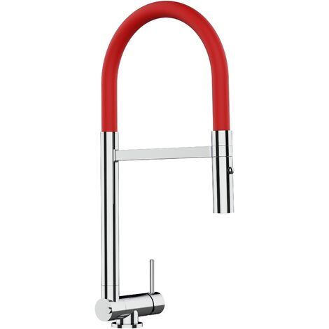 Mitigeur de cuisine rabattable sous fenetre 45mm chrome robinet bec rouge orientable et douchette 2 jets detachable VIZIO