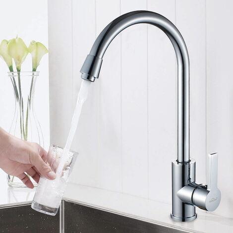 Mitigeur de cuisine robinet de cuisine Rotation 360° à Eau Froide et Chaude Robinetterie chrome Avec coude de sortie 304