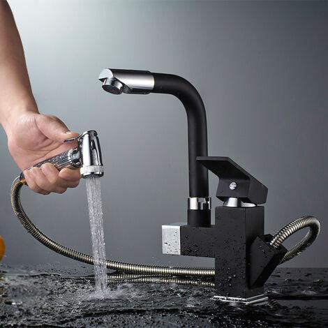 Mitigeur de Cusine avec Douchette Extractible Robinet Mitigeur lavabo 2 Sortie Eau Noir Rotatif 360° Robinetterie Évier