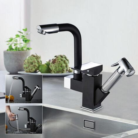 Mitigeur de Cusine Noir avec Douchette Extractible Robinet Mitigeur lavabo 2 Sortie Eau Rotatif 360°Robinetterie Évier