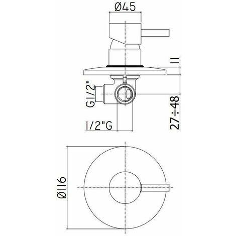 mitigeur de douche encastrer plaque Ø 110 Paffoni LIGHT LIG011