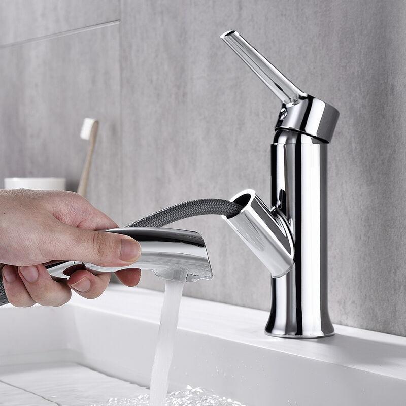 Mitigeur de lavabo avec douchette extractible 60cm robinet - Mitigeur thermostatique salle de bain ...