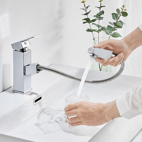 Mitigeur de lavabo avec Douchette Extractible Mousseur Eau Chaude et Froide Laiton Chrome Robinet pour lavabo et vasque