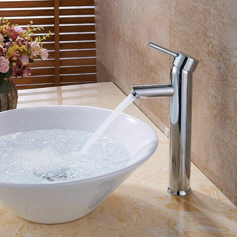 Mitigeur de Lavabo Design à Bec Haut Robinet Monotrou pour Vasque à Poser sur table pour Salle de Bain en Cuivre Chromé avec Mousseur Démontable