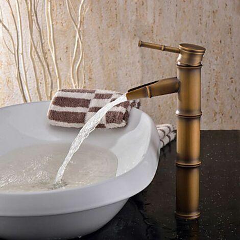 Mitigeur de lavabo, imitation style bambou, fini en laiton brossé