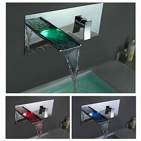 Mitigeur de lavabo LED à fixation murale, style contemporain et jet en cascade