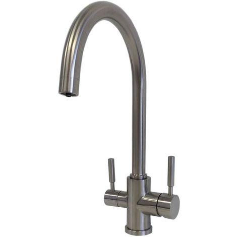 Mitigeur d'évier acier inoxydable 3 voies pour traitement de l'eau Equa Pure 01 | acier inoxydable brossé