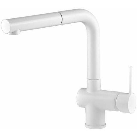 Mitigeur d'évier de cuisine avec douche amovible blanc mat Gattoni Pesci 4070/PCBO