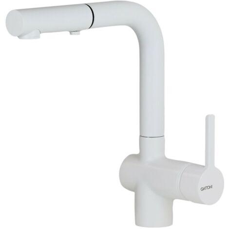Mitigeur d'évier de cuisine avec douche amovible blanc mat Gattoni Pesci 4070/PCBO | Blanc mat