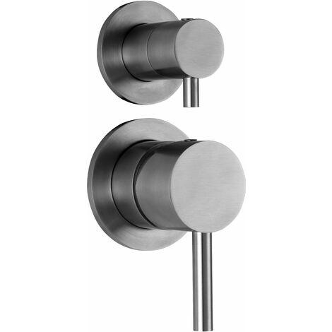 Mitigeur douche encastré avec inverseur à 2 sorties acier inoxydable Paffoni Steel 015AC | Acier - 2 USCITE