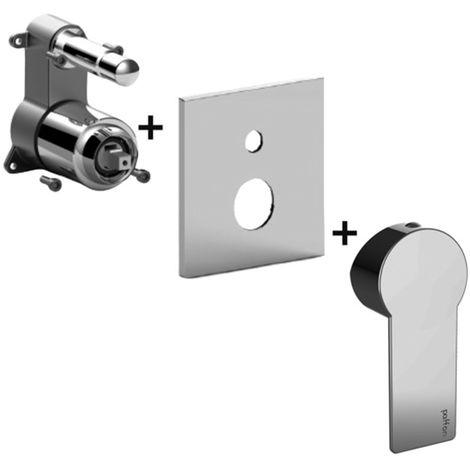 Mitigeur douche encastré avec inverseur à bouton-poussoir Paffoni TANGO (codeTABOX015CR) - 2 sorties