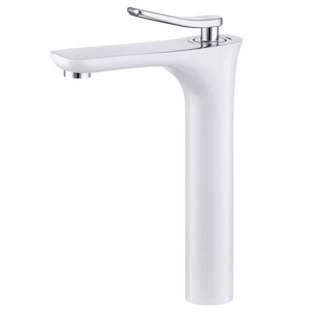Mitigeur lavabo à poser chrome blanc