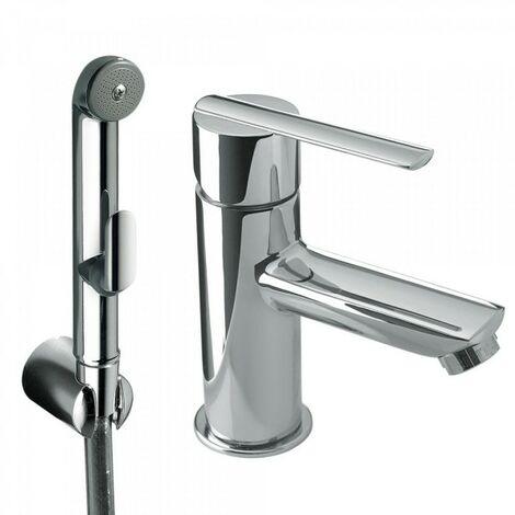 Mitigeur lavabo pour bidet/wc Douchette hygiénique à poussoir et flexible satin - TRES 181113