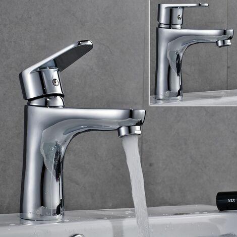 Mitigeur Lavabo Robinet pour lavabo et vasque Robinetterie en Laiton Chromé Lave main de Salle de Bain