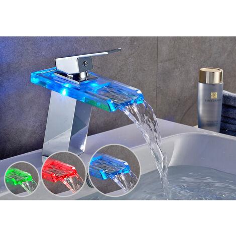 Mitigeur Lavabo Robinetterie LED RVB Cascade pour Vasque de Salle de Bain en Laiton Chromé et Verre
