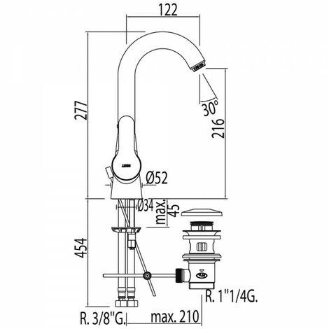 Mitigeur lavabo Vidage automatique - TRES 01730802D