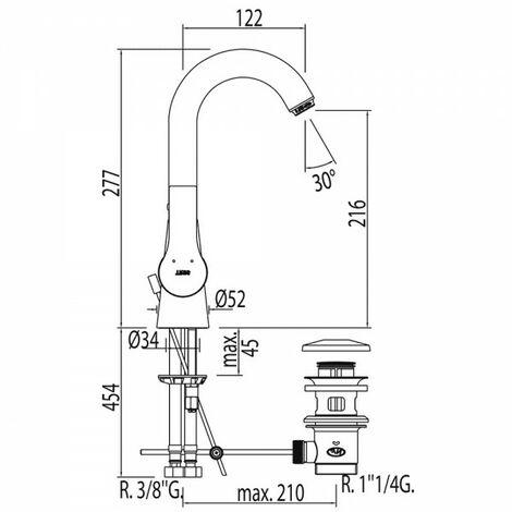 Mitigeur lavabo Vidage automatique - TRES 06930802D