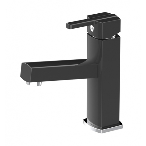 Mitigeur lave-mains carre SCOOP Noir - eau chaude et eau froide
