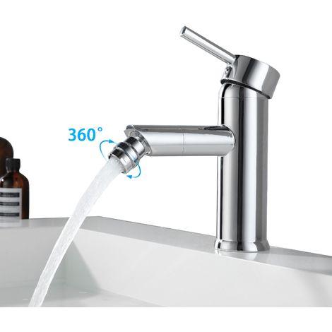 Mitigeur monocommande classique pivotant à 360° pour lavabo de salle de bain en laiton chromé
