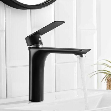 Mitigeur monocommande pour salle de bain Noir Robinet de lavabo Bain Mélangeur Noir évier Monotrou Lavabo Mélangeur pour salle de bain, haute pression