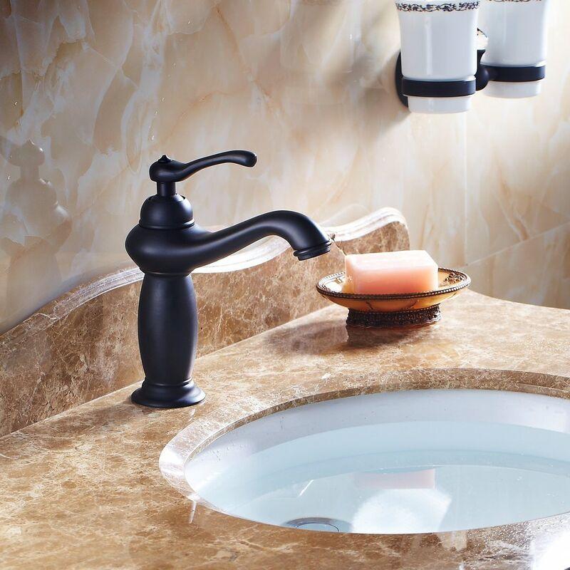 Mitigeur noir monobloc levier unique de salle de bain mitigeur lavabo 6110600516338 - Mitigeur noir salle de bain ...