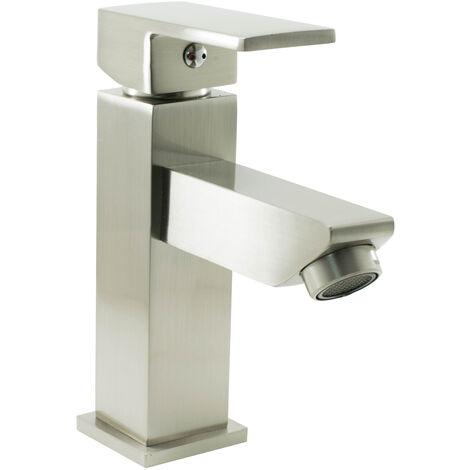Mitigeur robinet de lavabo a bec fixe finition acier brossé cartouche céramique