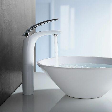 Mitigeur Robinet de Lavabo pour Vasques à Poser Bec Haut En Laiton Chromé Blanc Laqué Mousseur ABS Anti-Calcaire