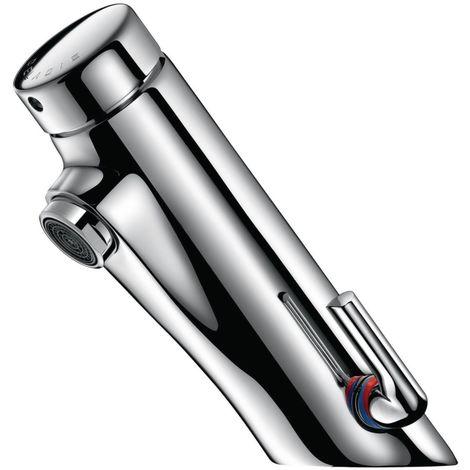 Mitigeur temporisé Temposoft pour lavabo à déclenchement souple avec réglage de température latéral avec robinets d\'arrêts droits F12 x 17 c