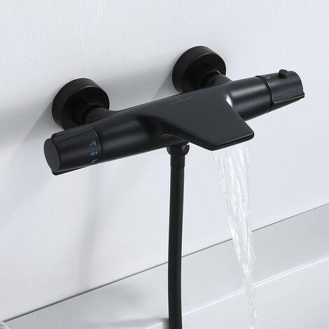 Mitigeur Thermostatique de Baignoire Robinet Cascade pour Baignoire Robinet Noir en Laiton Design Elégant