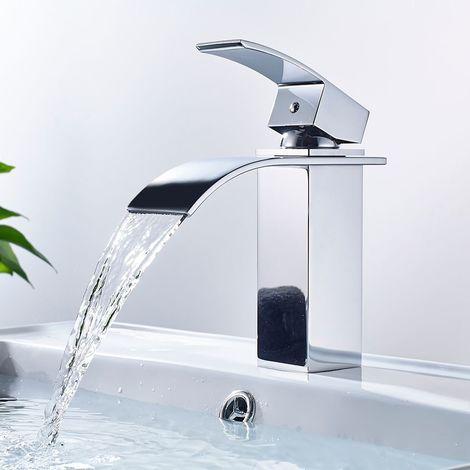 Mitigeur Vasque Cascade Robinet de Lavabo Carré pour Salle de Bain en Cuivre Chromé