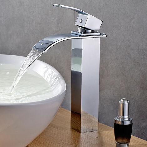 Mitigeur Vasque Cascade Robinet de Lavabo Haut Robinetterie Lave-mains Carré pour Salle de Bain en Cuivre Chromé