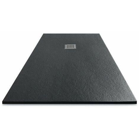 MITOLA Receveur de douche rectangulaire a poser Liwa - 180 x 90 cm - Résine composite - Gris anthracite