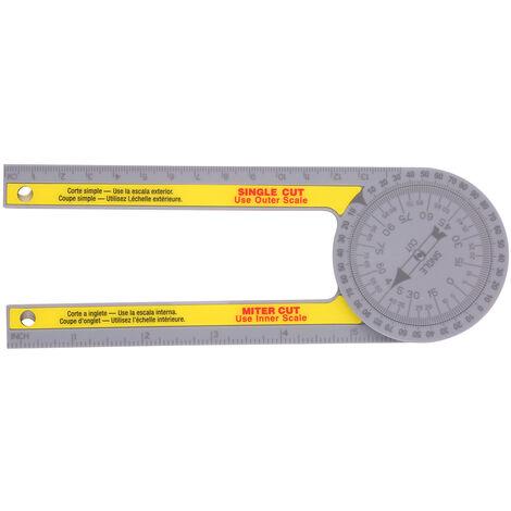 Mitre Saw Transportador de medida de angulo de transferencia Gauge Regla angular para carpinteros ABS Regla metrica en las renovaciones en las mejoras para el hogar y mas oficios de construccion, Amarillo