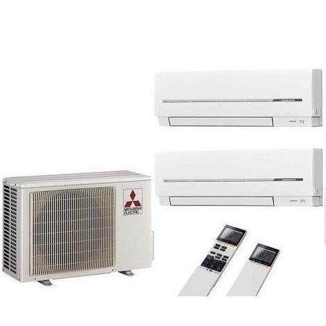Mitsubishi Klimaanlage Multi Split 2 Räum 2 x MSZ-SF25VE + MXZ-2D33VA Inverter