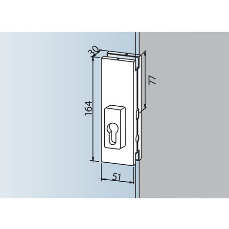 Mittelschloss US 20, PZ-vorgerichtet, Glasstärke 10 mm, Alu silber eloxiert (03.215) | Glastürbeschlag - Zubehör dormakaba