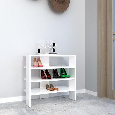 Mix Shoe Cabinet - Organizer Rack - with Shelves - for Hall - White, made in Wood, 63,6 x 31,8 x 60 cm