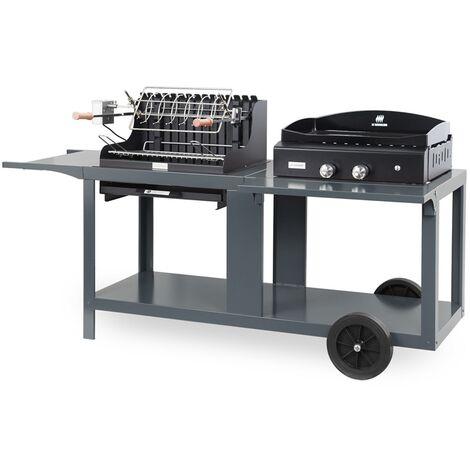 Mixte plancha à gaz et barbecue à charbon de bois Mendy-Alde Baia Ardoise LE MARQUIER Made in France