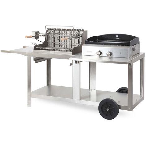 Mixte plancha à gaz et barbecue à charbon de bois Mendy-Alde Baia Inox LE MARQUIER Made in France