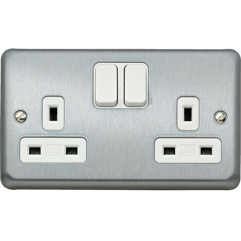MK Electric Double Socket, with Dual Earth Switch, 13A, Brushed Chrome