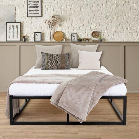 ML-Design Metallbett 120x200 cm auf Stahlrahmen mit Holzlattenrost, Schwarz, Bettgestell aus Metall, robust, leichte Montage, umfangreicher Stauraum, Design Single Bett Einzelbett Jugendbett Gästebett