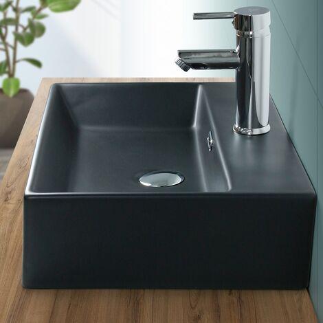 ML-Design Vasque à poser carré noir mat lavabo céramique salle de bain 510x360mm