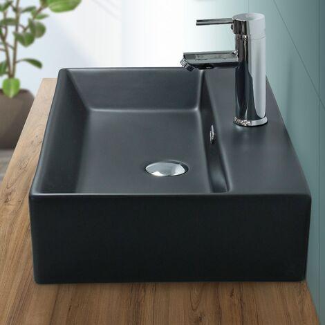 ML-Design Vasque à poser carré noir mat lavabo céramique salle de bain 600x365mm