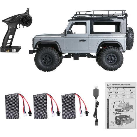 Mn 99S 2.4G 1/12 4 Roues Motrices Rtr Chenilles Rc Car Camion Hors Route Pour Land Rover Modeles De Vehicules 3 Batteries, Gris