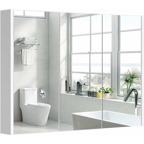 Mobile a Specchio da Bagno Armadietto Arredo Specchio a Parete con Tre Ante, Bianco, 90 x 11 x 65cm