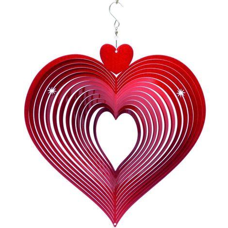 Mobile à vent coeur rouge Grand modèle