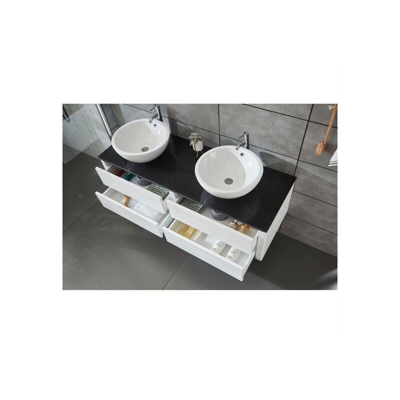 Arredo Bagno Bianco E Nero.Mobile Arredo Bagno 150cm Sospeso Bianco Con Lavabo D Appoggio E Specchio Mobili 1 Top02