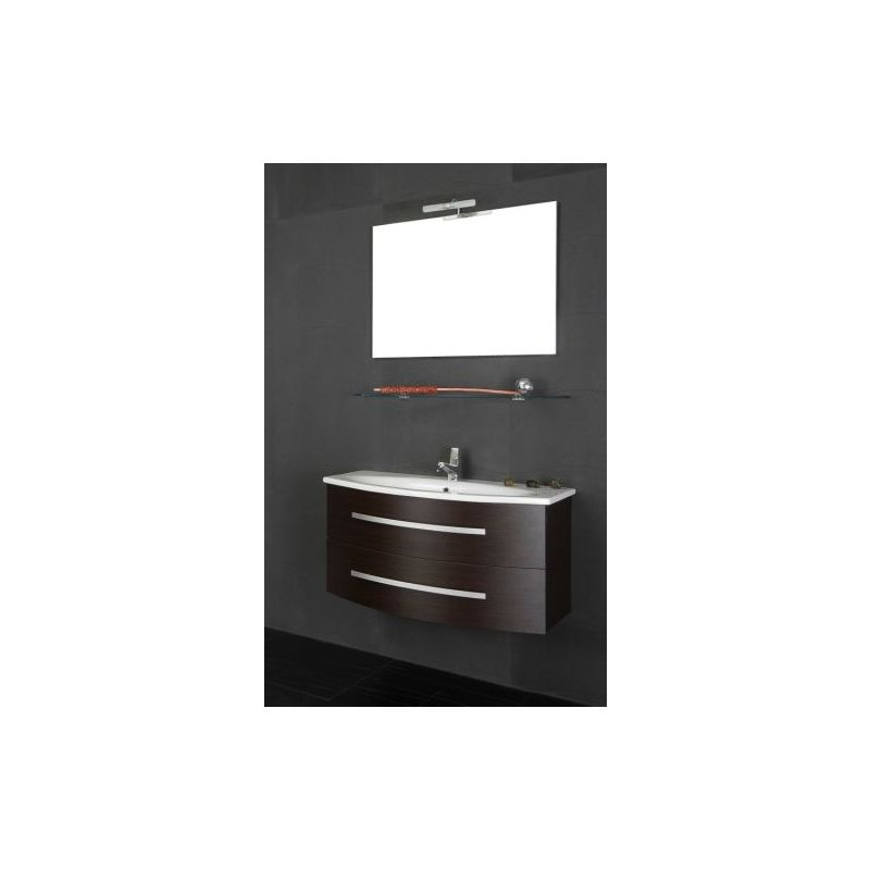 Mobile Arredo Bagno 90cm sospeso lavabo in mineralmarmo moderno wengè  Mobili 1
