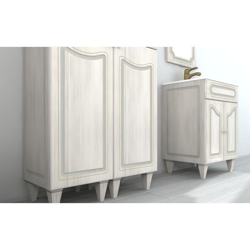 Mobile Arredo Bagno arte povera decapè misure da 90 cm con lavabo e  specchio Mobili